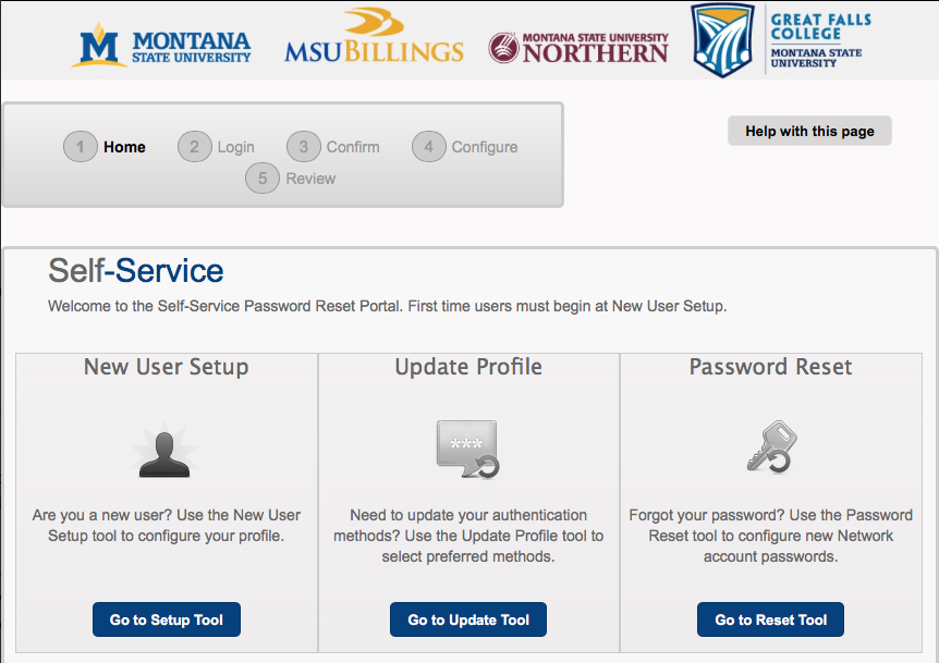 Screenshot of Self-Service Password Reset Portal