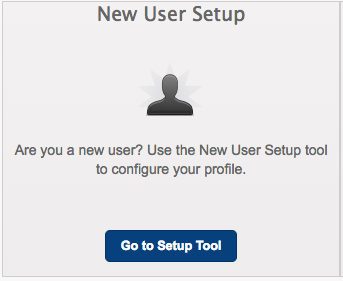 Screenshot of New User Setup Tile in the new password portal.